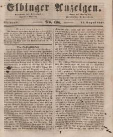 Elbinger Anzeigen, Nr. 68. Mittwoch, 25. August 1847