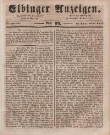 Elbinger Anzeigen, Nr. 76. Mittwoch, 22. September 1847