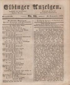 Elbinger Anzeigen, Nr. 91. Sonnabend, 13. November 1847