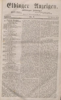 Elbinger Anzeigen, Nr. 3. Sonnabend, 10. Januar 1857