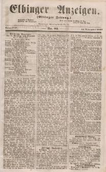 Elbinger Anzeigen, Nr. 92. Sonnabend, 14. November 1857