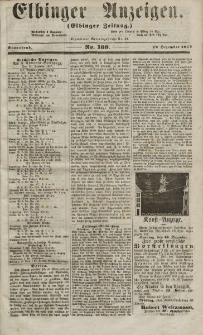 Elbinger Anzeigen, Nr. 100. Sonnabend, 12. Dezember 1857