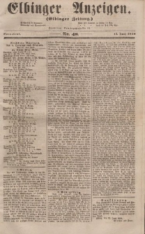 Elbinger Anzeigen, Nr. 48. Sonnabend, 14. Juni 1856