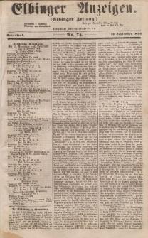 Elbinger Anzeigen, Nr. 74. Sonnabend, 13. September 1856