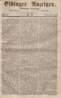Elbinger Anzeigen, Nr. 75. Mittwoch, 17. September 1856