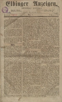 Elbinger Anzeigen, Nr. 1. Mittwoch, 3. Januar 1855