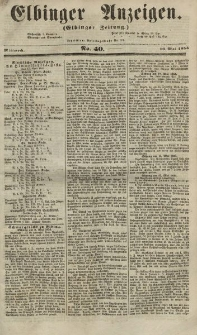 Elbinger Anzeigen, Nr. 40. Mittwoch, 16. Mai 1855