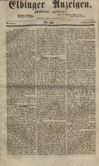 Elbinger Anzeigen, Nr. 62. Mittwoch, 1. August 1855