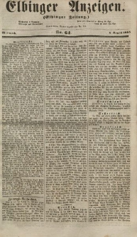Elbinger Anzeigen, Nr. 64. Mittwoch, 8. August 1855