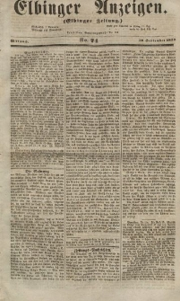 Elbinger Anzeigen, Nr. 74. Mittwoch, 12. September 1855