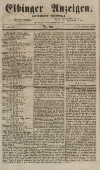 Elbinger Anzeigen, Nr. 92. Sonnabend, 10. November 1855