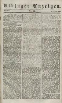 Elbinger Anzeigen, Nr. 61. Mittwoch, 1. August 1849