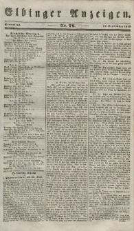 Elbinger Anzeigen, Nr. 76. Sonnabend, 22. September 1849