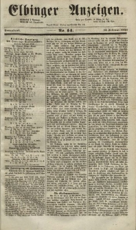 Elbinger Anzeigen, Nr. 14. Sonnabend, 15. Februar 1851