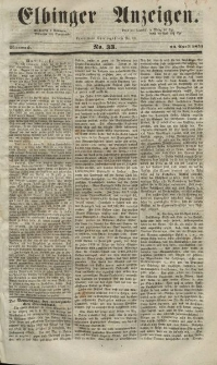 Elbinger Anzeigen, Nr. 33. Mittwoch, 23. April 1851