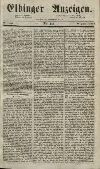 Elbinger Anzeigen, Nr. 14. Mittwoch, 18. Februar 1852
