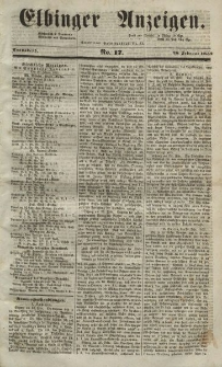 Elbinger Anzeigen, Nr. 17. Sonnabend, 28. Februar 1852