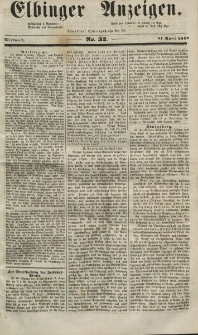 Elbinger Anzeigen, Nr. 32. Mittwoch, 21. April 1852