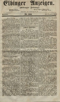 Elbinger Anzeigen, Nr. 101. Mittwoch, 15. Dezember 1852
