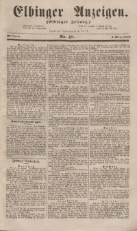 Elbinger Anzeigen, Nr. 18. Mittwoch, 2. März 1853