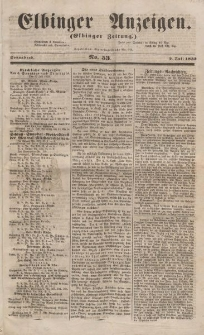 Elbinger Anzeigen, Nr. 53. Sonnabend, 2. Juli 1853