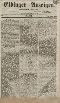 Elbinger Anzeigen, Nr. 34. Mittwoch, 26. April 1854