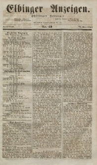 Elbinger Anzeigen, Nr. 43. Sonnabend, 27. Mai 1854