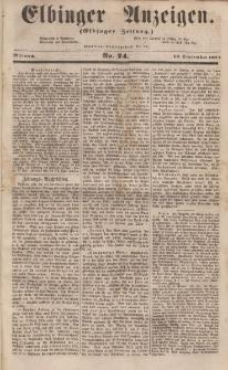 Elbinger Anzeigen, Nr. 74. Mittwoch, 13. September 1854