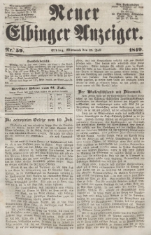 Neuer Elbinger Anzeiger, Nr. 59. Mittwoch, 25. Juli 1849