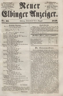 Neuer Elbinger Anzeiger, Nr. 62. Sonnabend, 4. August 1849