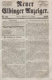 Neuer Elbinger Anzeiger, Nr. 65. Mittwoch, 15. August 1849