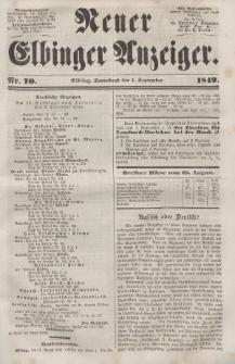 Neuer Elbinger Anzeiger, Nr. 70. Sonnabend, 1. September 1849