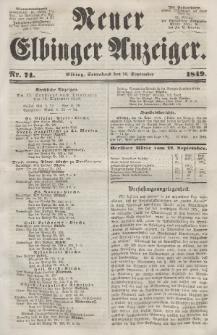 Neuer Elbinger Anzeiger, Nr. 74. Sonnabend, 15. September 1849