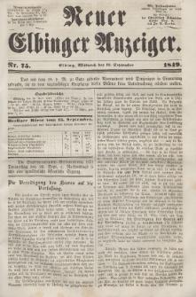 Neuer Elbinger Anzeiger, Nr. 75. Mittwoch, 19. September 1849