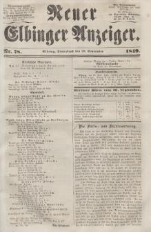 Neuer Elbinger Anzeiger, Nr. 78. Sonnabend, 29. September 1849