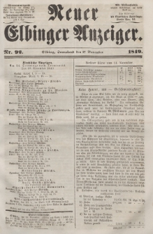 Neuer Elbinger Anzeiger, Nr. 92. Sonnabend, 17. November 1849