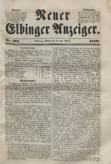Neuer Elbinger Anzeiger, Nr. 133. Mittwoch, 10. April 1850