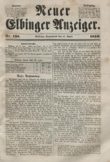 Neuer Elbinger Anzeiger, Nr. 138. Sonnabend, 27. April 1850