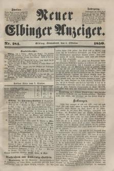 Neuer Elbinger Anzeiger, Nr. 184. Sonnabend, 5. Oktober 1850