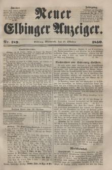 Neuer Elbinger Anzeiger, Nr. 189. Mittwoch, 23. Oktober 1850