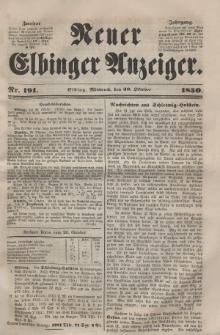 Neuer Elbinger Anzeiger, Nr. 191. Mittwoch, 30. Oktober 1850