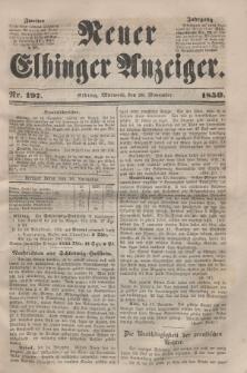 Neuer Elbinger Anzeiger, Nr. 197. Mittwoch, 20. November 1850