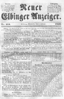 Neuer Elbinger Anzeiger, Nr. 219. Mittwoch, 5. Februar 1851