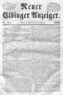Neuer Elbinger Anzeiger, Nr. 221. Mittwoch, 12. Februar 1851