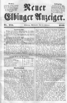 Neuer Elbinger Anzeiger, Nr. 225. Mittwoch, 26. Februar 1851