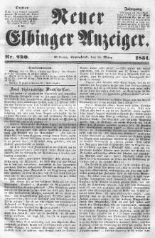 Neuer Elbinger Anzeiger, Nr. 230. Sonnabend, 15. März 1851