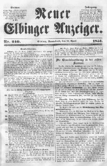 Neuer Elbinger Anzeiger, Nr. 240. Sonnabend, 19. April 1851