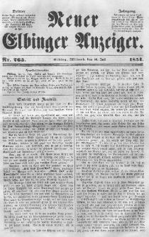 Neuer Elbinger Anzeiger, Nr. 265. Mittwoch, 16. Juli 1851