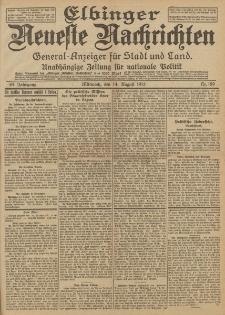Elbinger Neueste Nachrichten, Nr. 189 Mittwoch 14 August 1912 64. Jahrgang