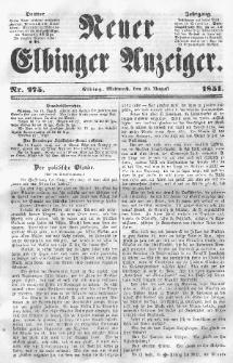 Neuer Elbinger Anzeiger, Nr. 275. Mittwoch, 20. August 1851
